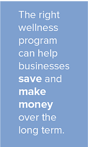 The right wellness program can help businesses save and make money over the long term.